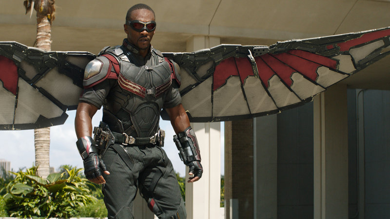 Anthony Mackie as Falcon in Captain America: Civil War. Film/Frame Marvel (NPR)